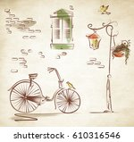hand drawn vintage scene with... | Shutterstock . vector #610316546