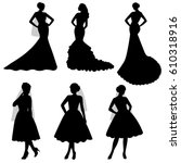the black silhouette of  bride... | Shutterstock .eps vector #610318916