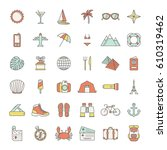 set of traveling icons | Shutterstock .eps vector #610319462
