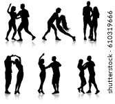 black set silhouettes dancing... | Shutterstock .eps vector #610319666