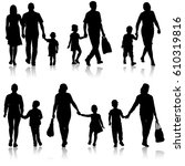 set silhouette of happy family... | Shutterstock .eps vector #610319816
