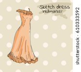 long summer dress  sarafan  in... | Shutterstock .eps vector #610333592