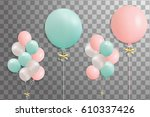 bunches of balloons isolated on ... | Shutterstock . vector #610337426
