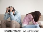man and woman feeling stressed... | Shutterstock . vector #610348952