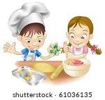 an illustration of two children ... | Shutterstock . vector #61036135