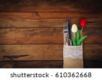 spring rusty table settings... | Shutterstock . vector #610362668