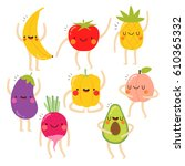 set of cute vegetables and... | Shutterstock .eps vector #610365332