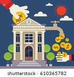 investor places a coin into a... | Shutterstock .eps vector #610365782