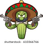 angry mexican cactus. vector... | Shutterstock .eps vector #610366766