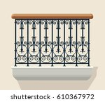 wrought iron balcony vector... | Shutterstock .eps vector #610367972