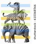 animals illustration   hand... | Shutterstock . vector #610368566