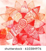 watercolor doily round lace... | Shutterstock . vector #610384976