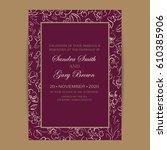 vintage wedding invitation.... | Shutterstock .eps vector #610385906