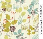 seamless pattern on leaves theme | Shutterstock .eps vector #61038643