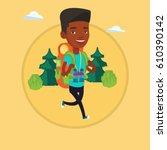 backpacker with backpack and... | Shutterstock .eps vector #610390142