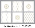 luxury retro labels cards with... | Shutterstock .eps vector #610398335