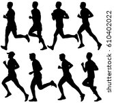 set of silhouettes. runners on... | Shutterstock . vector #610402022
