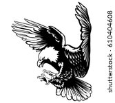 eagle emblem isolated on white... | Shutterstock .eps vector #610404608