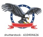 eagle emblem isolated on white... | Shutterstock .eps vector #610404626