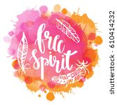 boho style lettering quotes and ... | Shutterstock .eps vector #610414232