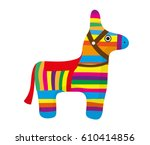 pinata icon  flat style. donkey ... | Shutterstock .eps vector #610414856