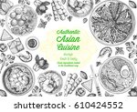 asian cuisine top view frame.... | Shutterstock .eps vector #610424552