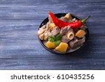 lamb roast with quince | Shutterstock . vector #610435256