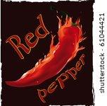 burning pepper on a black... | Shutterstock .eps vector #61044421