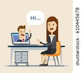 conference call at office.... | Shutterstock .eps vector #610445678