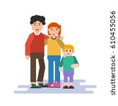 illustration of small family in ... | Shutterstock . vector #610455056