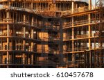 laborers working on the... | Shutterstock . vector #610457678