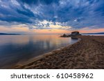 before sunrise in ierissos... | Shutterstock . vector #610458962