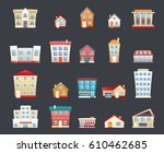 cartoon real estate retro... | Shutterstock .eps vector #610462685