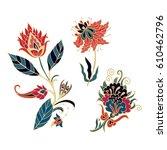 Stock vector set of vector flowers 610462796