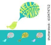 hello spring. vector... | Shutterstock .eps vector #610474712