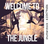 light jungle party poster with... | Shutterstock .eps vector #610479686