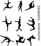 dance silhouettes | Shutterstock .eps vector #61048462