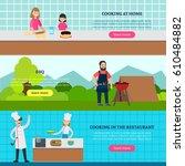 cookery people horizontal... | Shutterstock .eps vector #610484882
