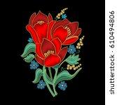embroidery flower design...   Shutterstock .eps vector #610494806