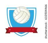 volleyball sport emblem icon   Shutterstock .eps vector #610504466