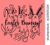 rabbit banny. hand drawn easter ...   Shutterstock .eps vector #610505105