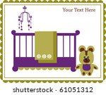 teddy bear next to baby cradle  ... | Shutterstock .eps vector #61051312