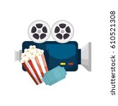 movie entertainment set icons | Shutterstock .eps vector #610521308