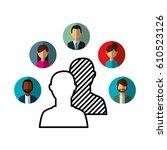 social media network icons... | Shutterstock .eps vector #610523126