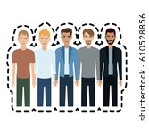 group of young handsome men... | Shutterstock .eps vector #610528856