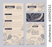 set of seafood restaurant... | Shutterstock .eps vector #610542212