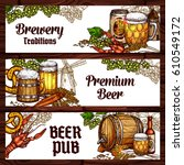 beer pub and brewery sketch... | Shutterstock .eps vector #610549172