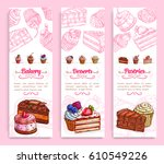 bakery and pastry shop desserts ... | Shutterstock .eps vector #610549226