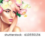spring woman. beauty summer... | Shutterstock . vector #610550156