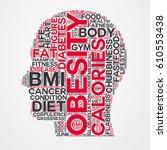 obesity word cloud head... | Shutterstock .eps vector #610553438